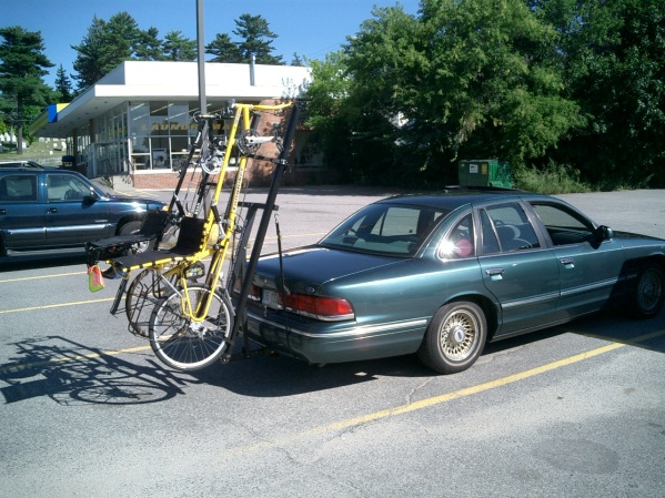 Side view of bikes on rack